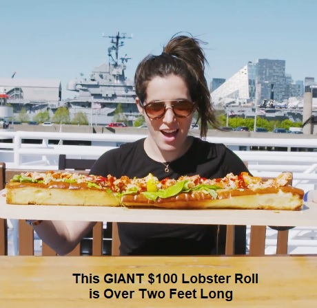 This GIANT $100 Lobster Roll Is Over Two Feet Long